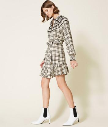 Платье-рубашка TWINSET 212TT2160 в клетку с кружевом