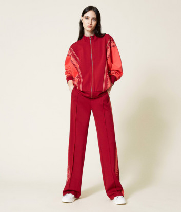 Трикотажный костюм TWINSET 212TT2385 толстовка и брюки бордово-коралловый