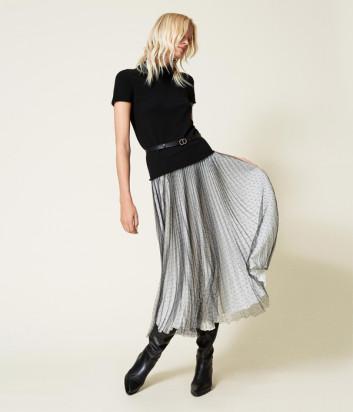 Длинная юбка TWINSET 212TT2060 из плиссированного тюля черно-белая