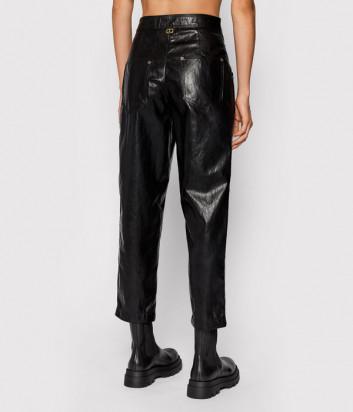 Укороченные брюки TWINSET 212TT2051 из ткани с покрытием черные