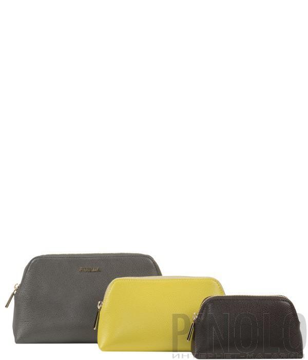 bf405e22a539 Набор из трех косметичек Furla Isabelle серый-желтый-коричневый ...