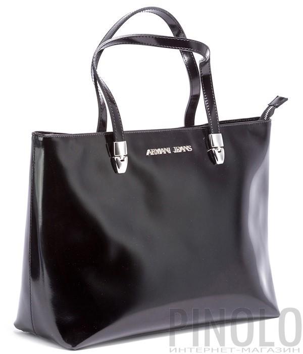 35a1302d4656 Вместительная сумка Armani Jeans из полированной кожи черная ...