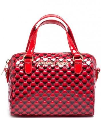 b7ecfd19eb5e ... Лаковая женская сумка Armani Jeans с оригинальным принтом красная ...