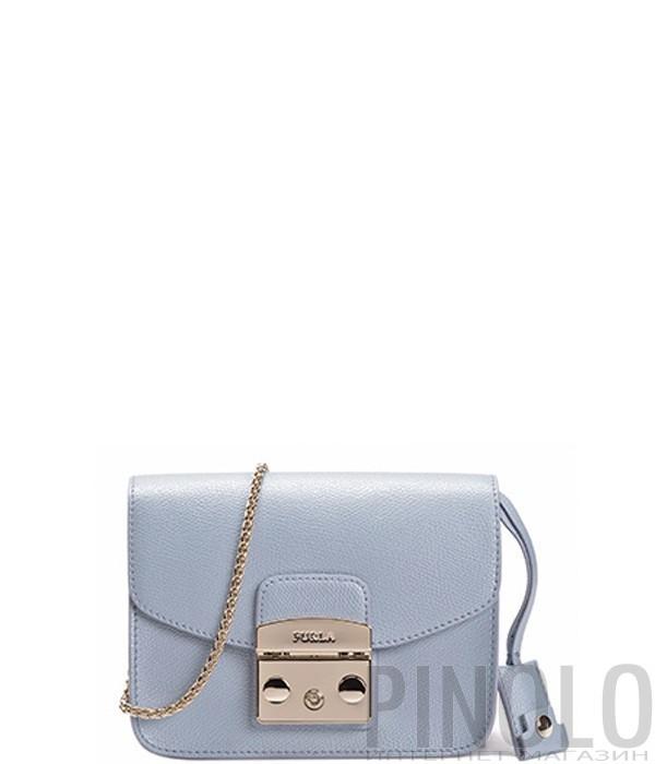 d145c62f385a Сумка Furla Metropolis 773491 на цепочке металлизированная голубая ...