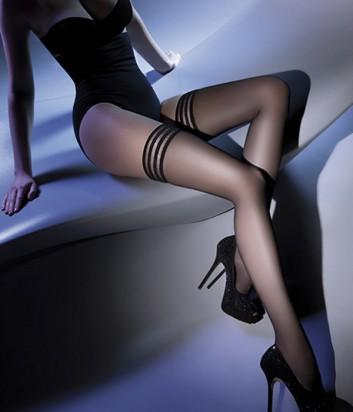 Чулки Gabriella Calze Lux с самоудерживающимся кружевом черные