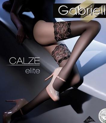 Чулки Gabriella Calze Elite с самоудерживающимся кружевом черные
