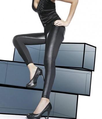 Леггинсы BasBleu Ingrid декорированы вставками под кожу черные