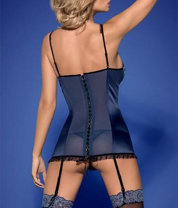 Комплект Obsessive Obsessive Auroria corset синий с вышивкой