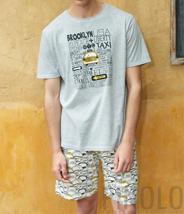 Мужской комплект для дома Gisela Taxi шорты и футболка серый