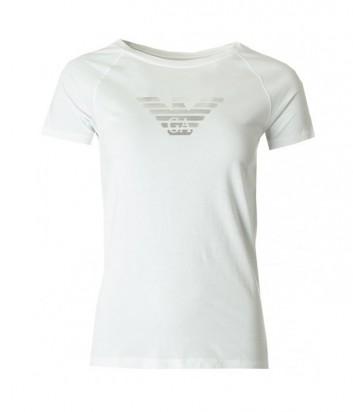Хлопковая футболка Emporio Armani белая с серебряным логотипом