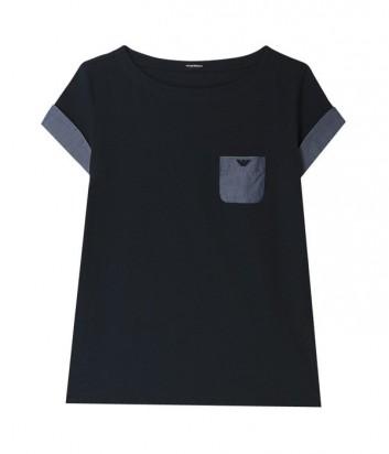 Стильная женская футболка Emporio Armani с карманчиком синяя