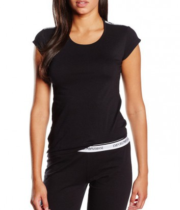 Женская футболка Emporio Armani с брендированными вставками черная