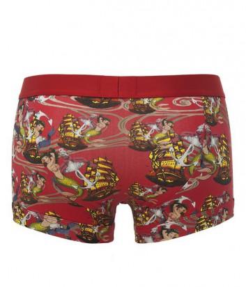 Мужские трусы-боксеры Emporio Armani с ярким принтом красные