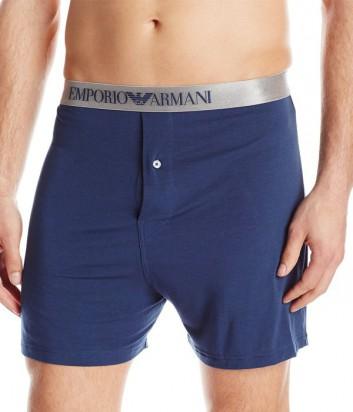 Шорты Emporio Armani с серебряной брендированной резинкой синие