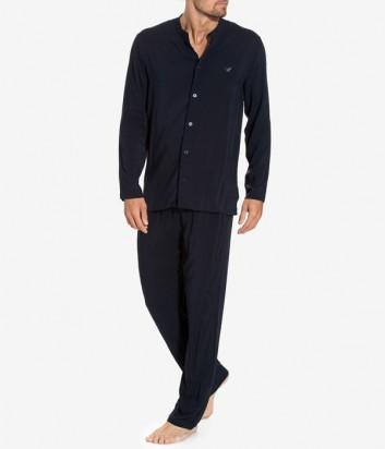 Роскошная мужская пижама Emporio Armani рубашка и штаны темно-синяя
