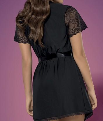 Комплект Obsessive Miamor халат и трусики декорирован кружевом черный