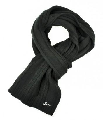 Теплый мужской шарф Guess с аккуратной нашивкой бренда черный