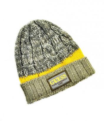 Теплая шапка Guess модель унисекс коричневая с желтой полоской