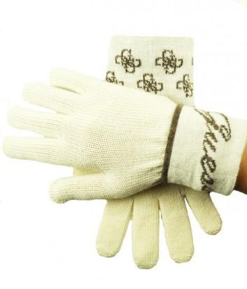 Теплые женские перчатки Guess с фирменным принтом молочные