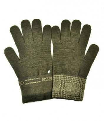 Теплые мужские перчатки Guess с фирменным принтом коричневые