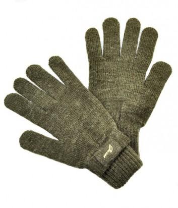 Теплые женские перчатки Guess декорированы бантиком коричневые