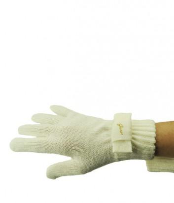 Теплые женские перчатки Guess декорированы бантиком кремовые