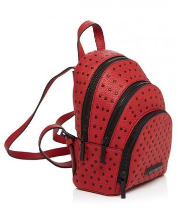 Яркий кожаный рюкзак Kendall+Kylie декорирован заклепками алый