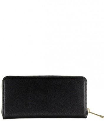 Классическое женское портмоне Coccinelle из сафьяновой кожи черное