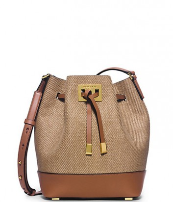 Кожаная сумка Michael Kors Miranda комбинированная с тканью канвас