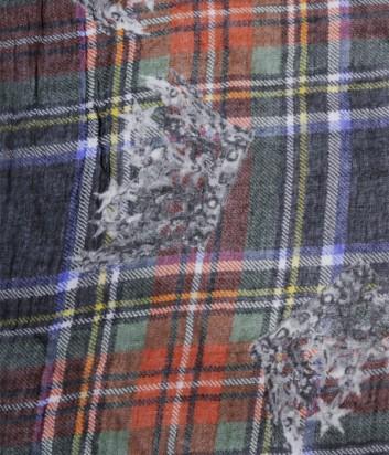 Женский платок 813 Ottotredici красивый клетчатый принт зеленый