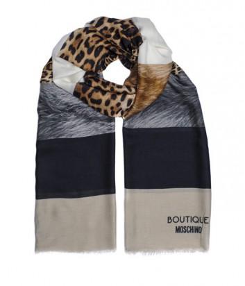Шарф Moschino Boutique MS-018 комбинированный принт бежевый