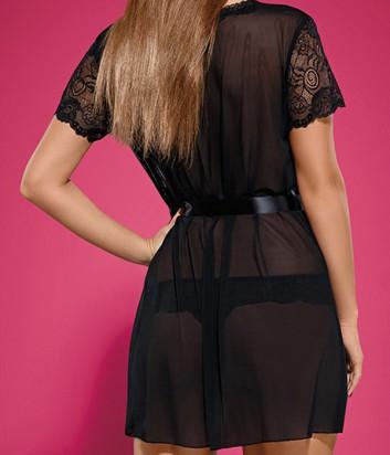 Комплект Obsessive Alluria халат и трусики черный