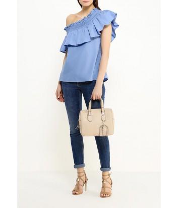 Женская сумка Furla Emma 870065 из мягкой текстурной кожи бежевая
