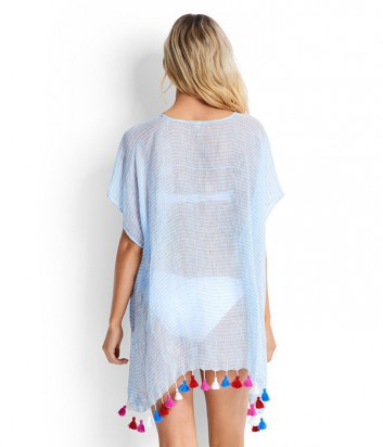 Туника Seafolly Fine Stripe декорирована цветными кисточками голубая