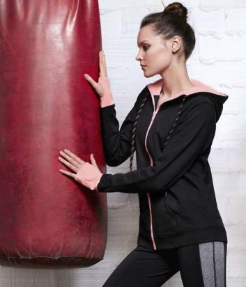 Спортивная олимпийка с капюшоном Gisela Move 46007 черно-розовая
