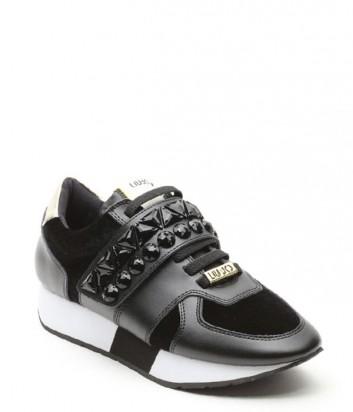 Кожаные кроссовки Liu Jo Geranio с вельветовыми вставками черные