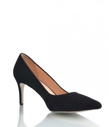 Замшевые туфли-лодочки Lottini на среднем каблуке черные