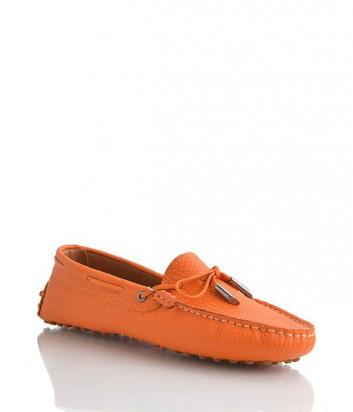 Женские кожаные мокасины Paoletti оранжевые