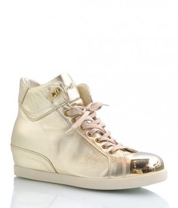 Кожаные сникерсы Cesare Paciotti с декорированным носочком золотые