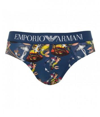 Мужские трусы-брифы Emporio Armani с ярким принтом синие