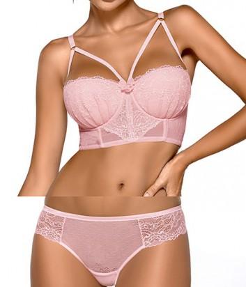 Комплект Ewa Bien Safona бюстье push up B244 и бразилианки C511 розовый