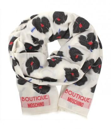 Шарф Moschino Boutique MS-011 с цветочным принтом черный