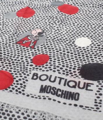 Большой шарф Moschino Boutique MS-022 в гороховый принт серый