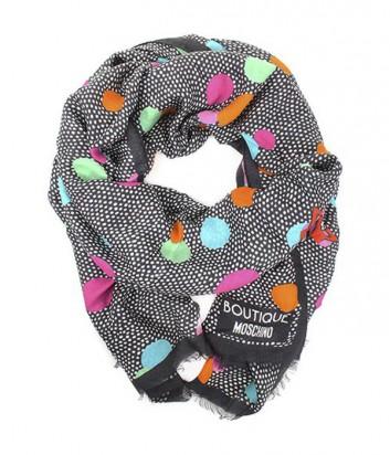 Большой шарф Moschino Boutique MS-022 в гороховый принт оранжевый