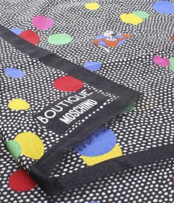 Большой шарф Moschino Boutique MS-022 в гороховый принт красный