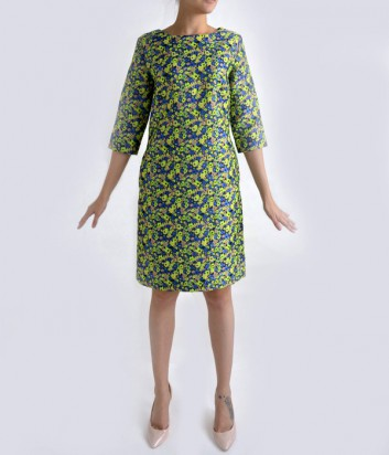Жаккардовое платье Globe сине-зеленое с узором