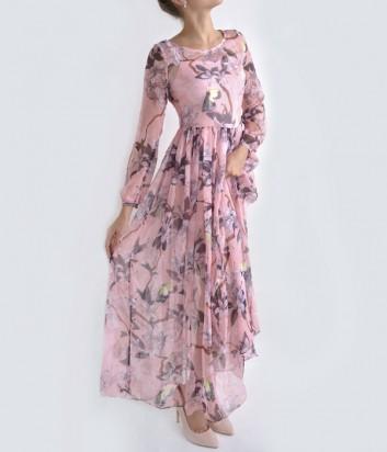Шелковое платье в пол Babylon с цветочным принтом розовое