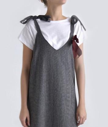 Платье в пол Dixie с футболкой серое
