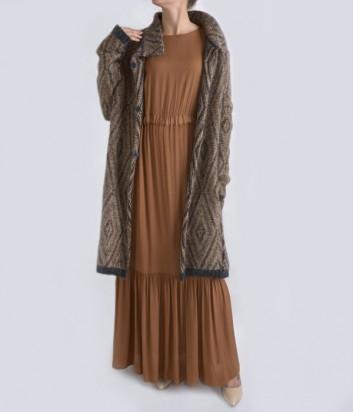 Платье в пол Dixie с длинны рукавом коричневое