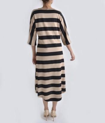 Платье-миди Dixie в черно-бежевую полоску